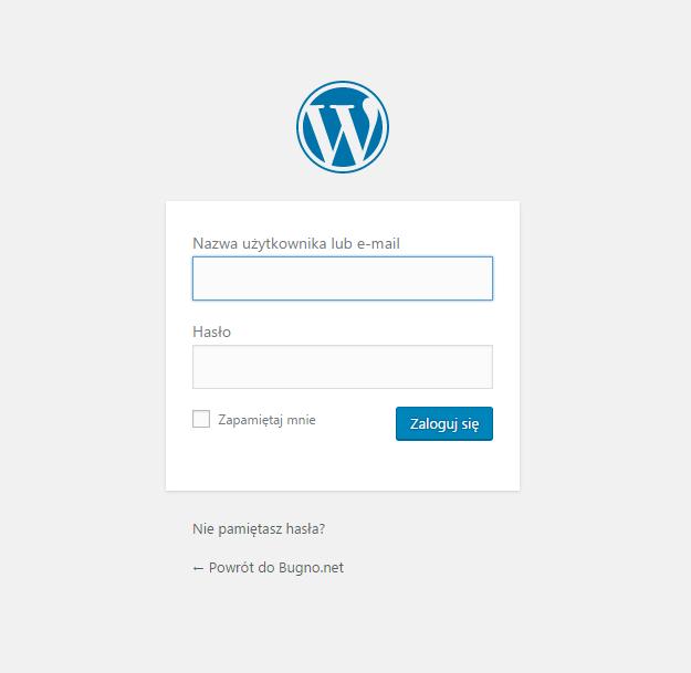 Strona logowania WordPress