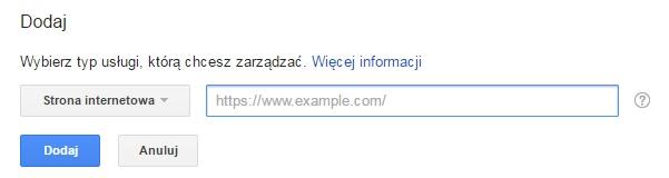 dodawanie strony w google search console