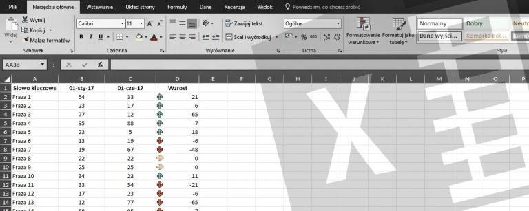 Excel frazy wzrost