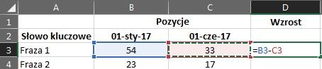 Excel odejmowanie