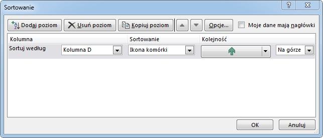 Ustawienie sortowania Excel