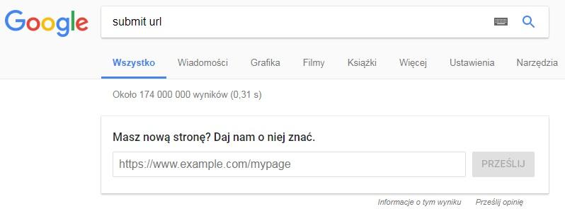 dodawanie strony do wyszukiwarki